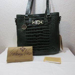 Patricia Nash Lundy Leather Convertible Crossbody – Green Croco MSRP $229 NWT